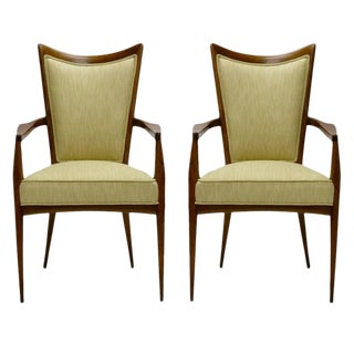 Stunning Pair of Italian Sculptural Mahogany and Silk Occasional Chairs