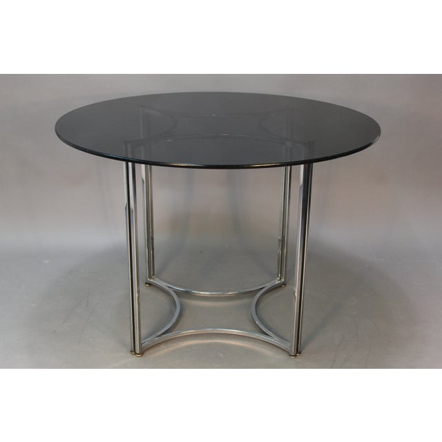 Chrome and Smoked Glass Round Top Dining Table - Image 4 of 6