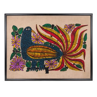 Colorful Embroidered Chilean Art of Bird and Fauna