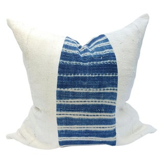 African Mud Cloth White and Blue Striped Pillow