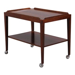 Rosewood Side Table on Wheels by Haslev, 1960s