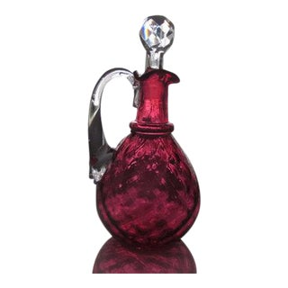 Victorian Diamond Optic Cranberry Glass Oil Cruet or Perfume Bottle