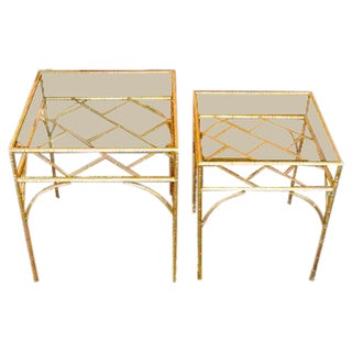 Chinoiserie Gold Bamboo End Tables - Set of Two