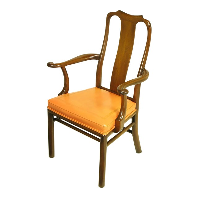 Six Walnut and Tooled Leather Splat-Back Dining Chairs - Image 1 of 10