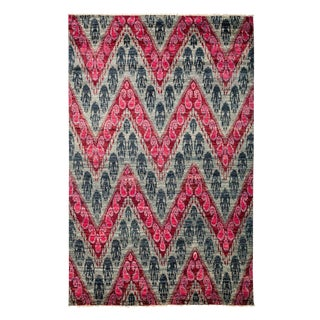 "Ikat, Hand Knotted Pink Chevron Wool Area Rug - 6' 1"" X 9' 4"""