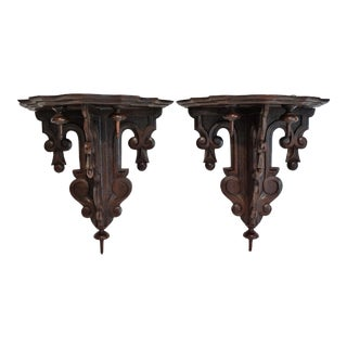 Antique Black Forest Wall Brackets - A Pair