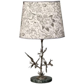 French Silver Plate Table Lamp With Two Sculpted Birds
