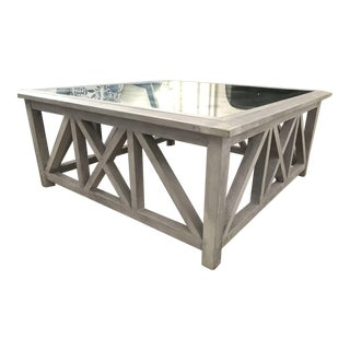 X Base Mirrored Top Wood Coffee Table