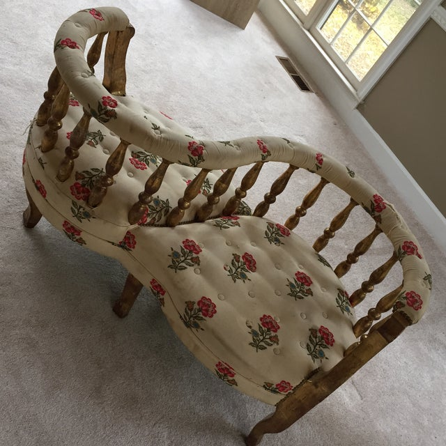 French Tete a Tete Gilded Wood Tufted Sofa - Image 10 of 10
