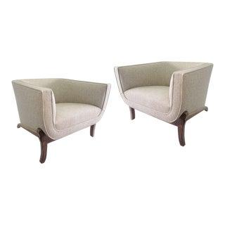 Elegant Faceted 1960s Barrel Chairs, Pair