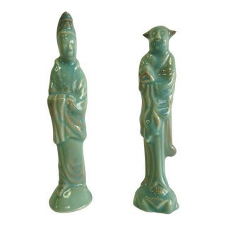 Chinoiserie Pottery Figurines - a Pair