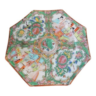 19th Chinese Export Porcelain Octagonal Rose Medallion Plate