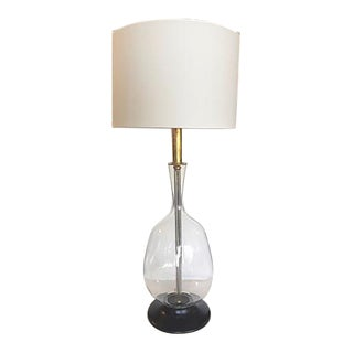 1960s Vintage Tall Glass Table Lamp