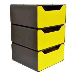 Vintage Joe Colombo Era Mid-Century Modern Molded Yellow Plastic Storage Drawers Chest