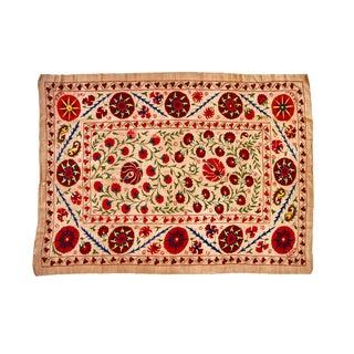 Hand-Embroidered Floral Uzbek Suzani Blanket
