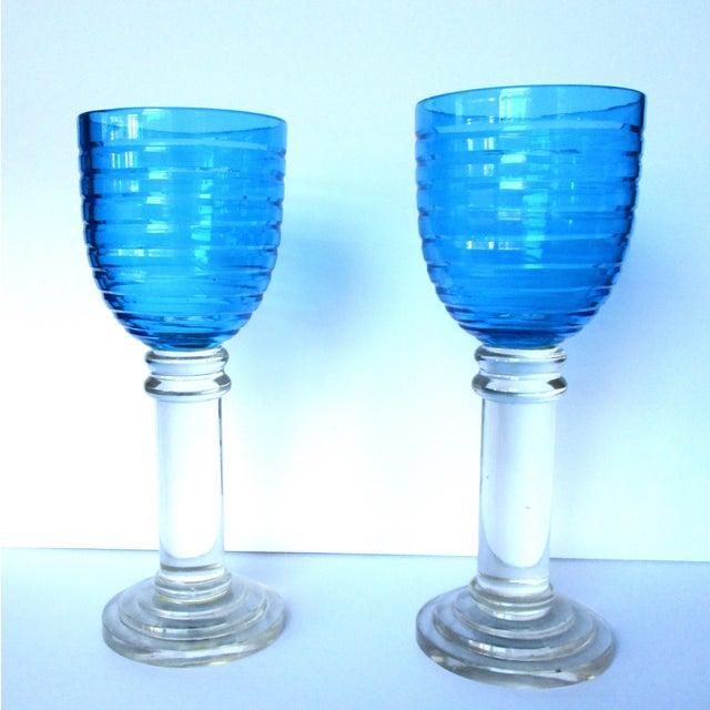 Vintage 14-Inch Crystal Hurricane Lamps - Pair - Image 4 of 6