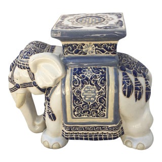 Vintage Chinoiserie Blue and White Elephant Garden Stool