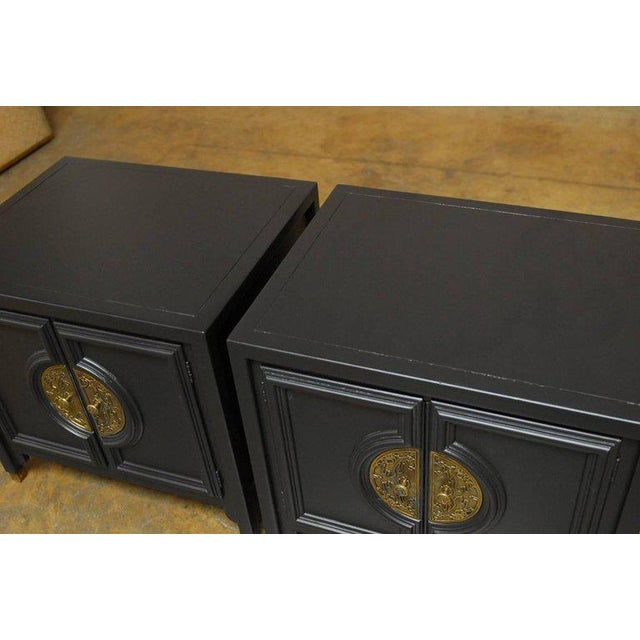 James Mont Style Century Furniture Lacquer Nightstands - a Pair - Image 4 of 10