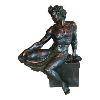 1940s French Male Figure Statue W/ Warm Bronzed Patina Finish