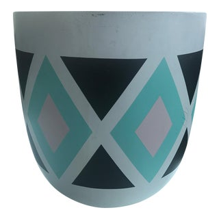 Turqoise & Black Diamond Patterned Planter