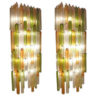 Pair of Massive Scaled Lit Chandelier Wall Sconces by Salviati for Venini, Italy circa 1965