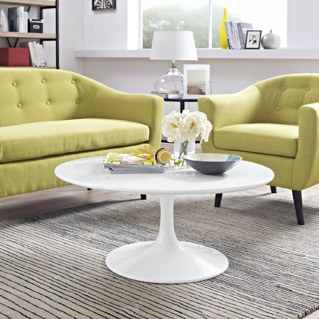 """New White Modern Round 36"""" Tulip Coffee Table - Image 2 of 3"""