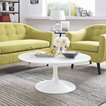 """Image of New White Modern Round 36"""" Tulip Coffee Table"""