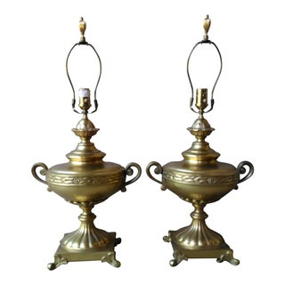 Vintage Ethan Allen Brass Grecian Table Lamps - Pair