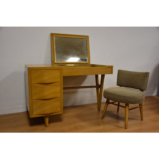 Image of Red Lion Bleached Mahogany Vanity Desk and Chair