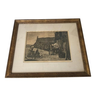 A Beautiful Old Farm Family Etching