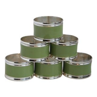 Silver & Olive Green Enamel Napkin Rings - Set of 6
