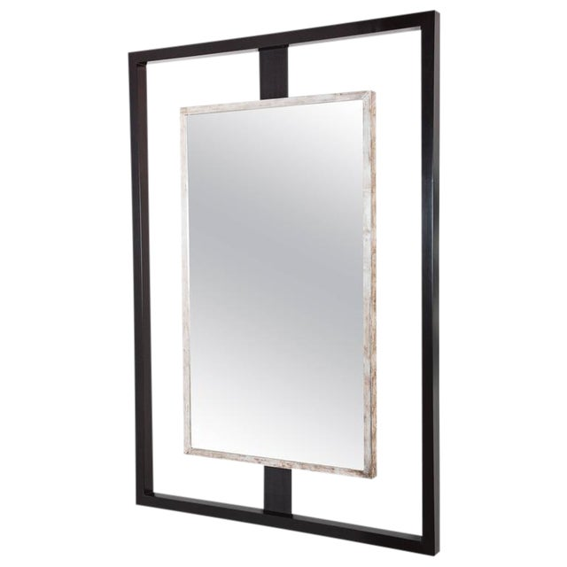 Paul Marra Negative Space Mirror with Distressed Silver Inner Frame - Image 1 of 5