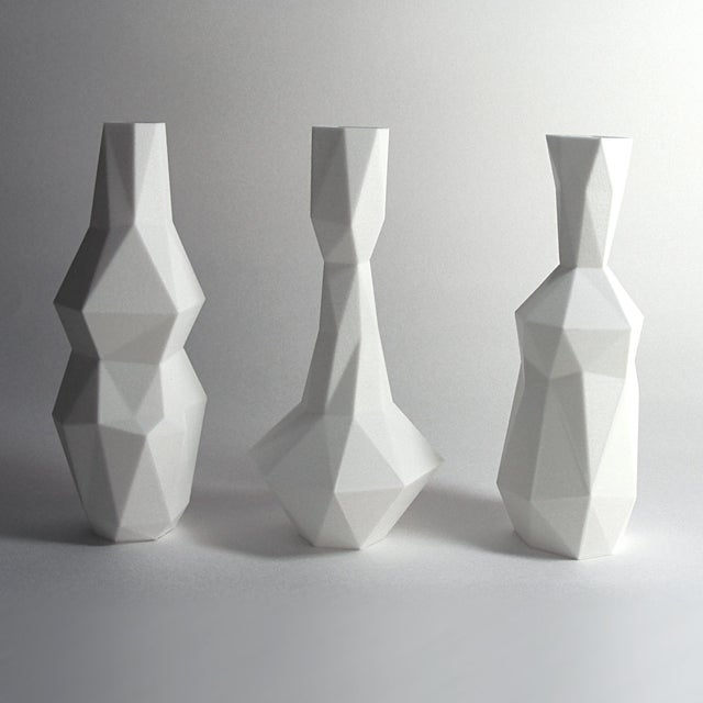 3d Printed Cubist Art Vases - Set of 3, White - Image 4 of 4