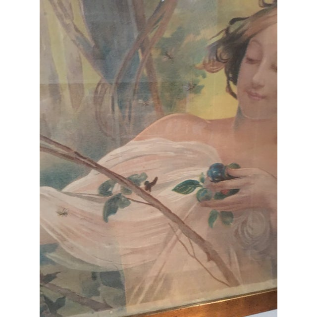 Image of Art Nouveau 'Lady & Flowers' Poster