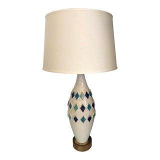 Bitossi Style Mid-Century Blue & White Table Lamp