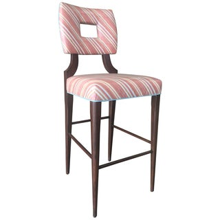 Vintage Upholstered Bar Stool with Keyhole Back