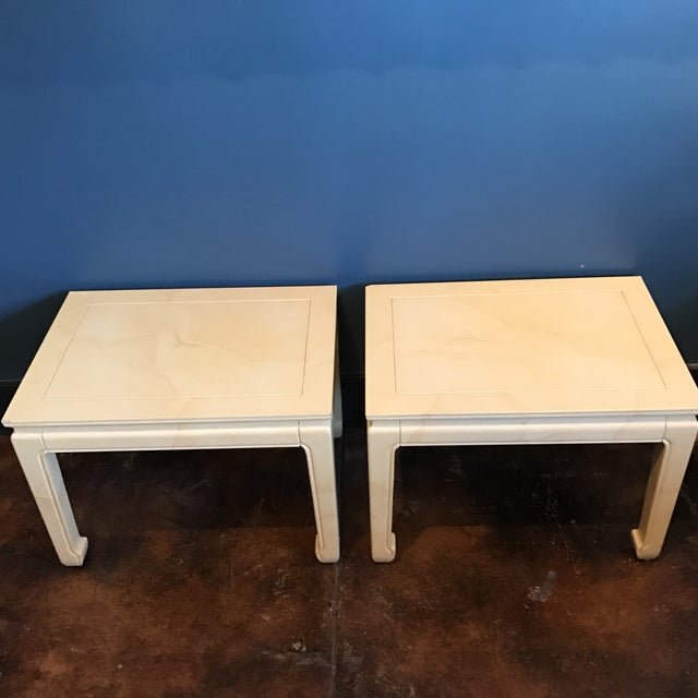Henredon Goatskin Lacquered End Tables - a Pair - Image 3 of 9