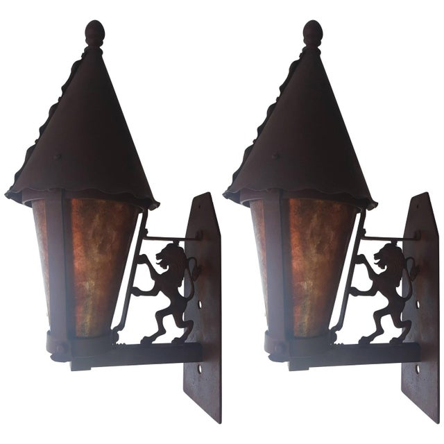 Gothic Wall Sconces: Mica And Iron Gothic Revival Wall Sconces - Pair