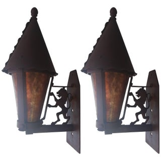 Mica and Iron Gothic Revival Wall Sconces - Pair