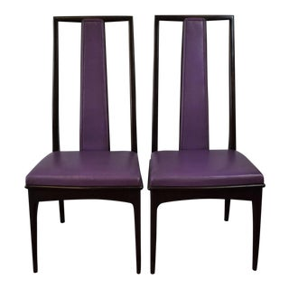 Fab Pair of John Stuart Grand Rapids Purple Leather High-Back Side Chairs -