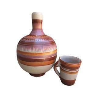 Vintage Mexican Water Jug & Cup
