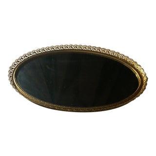 Oval Filigree Hollywood Regency Mirror Vanity Bar Tray