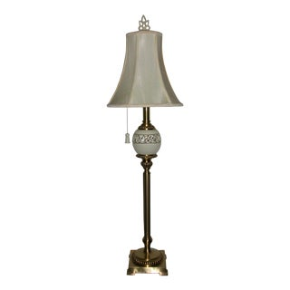 Lenox by Quoizel Retriculated Pierced Porcelain Brushed Brass Tall Table Lamp & Original Shade