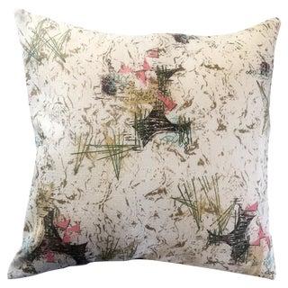 Mid-Century Modern Barkcloth Throw Pillow