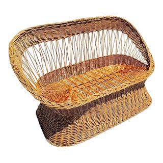 Mid Century Rattan Settee Bohemian Barrel Back Love Seat