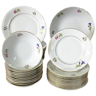 Vintage Bavaria Germany Meissen Style Porcelain Floral Motif Dinnerware- 39 Pieces