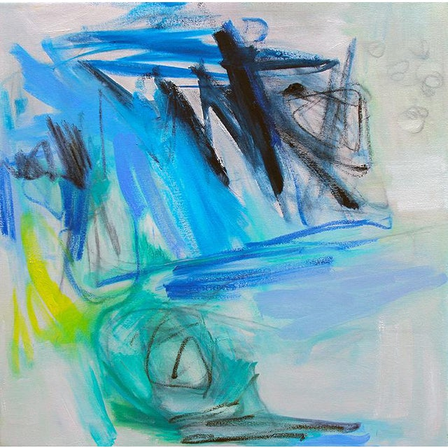 "Trixie Pitts' Abstract Painting ""Night Fishing"" - Image 1 of 6"