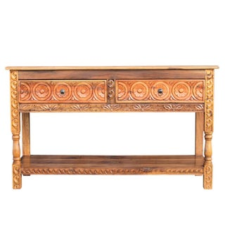 Floral Carved Console Table