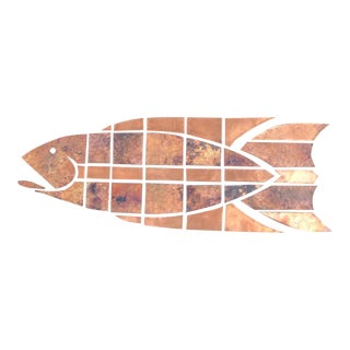 Circa 1970's Hand Hammered Copper Fish on Wood