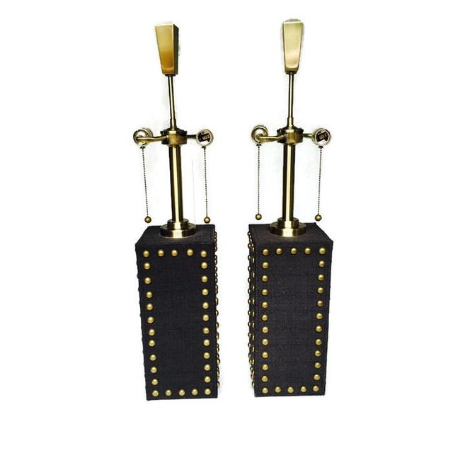 Modern Glam Studded Black & Brass Lamps - Pair - Image 9 of 10